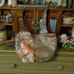 Gold Mucha zodiac tarot print silk evening bag